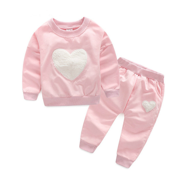 Free Shipping 2018 Boys And Girls Spring And Autumn Cotton Love Long Sleeved Sweater Suit 2PC