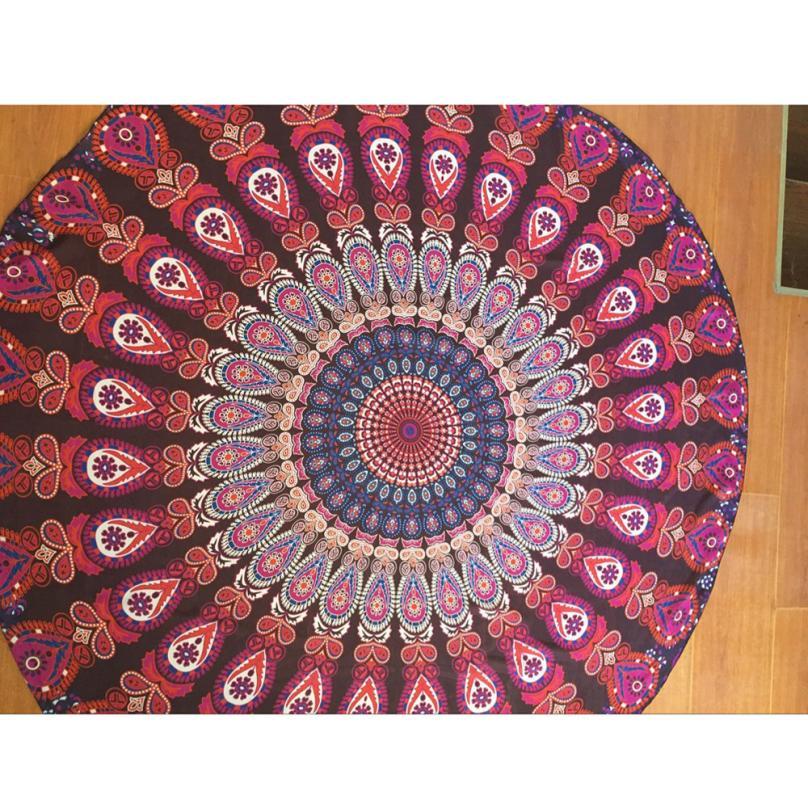 Large 150cm Diameter Round Beach Pool Home Shower Towel Blanket Tablecloth Yoga Mat Levert Dropship feb28
