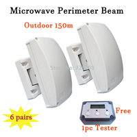 6pairs Perimeter Curtain Beam Detector For Outdoor Barrier 150m Protection Range With LCD Microwave Tester DHL