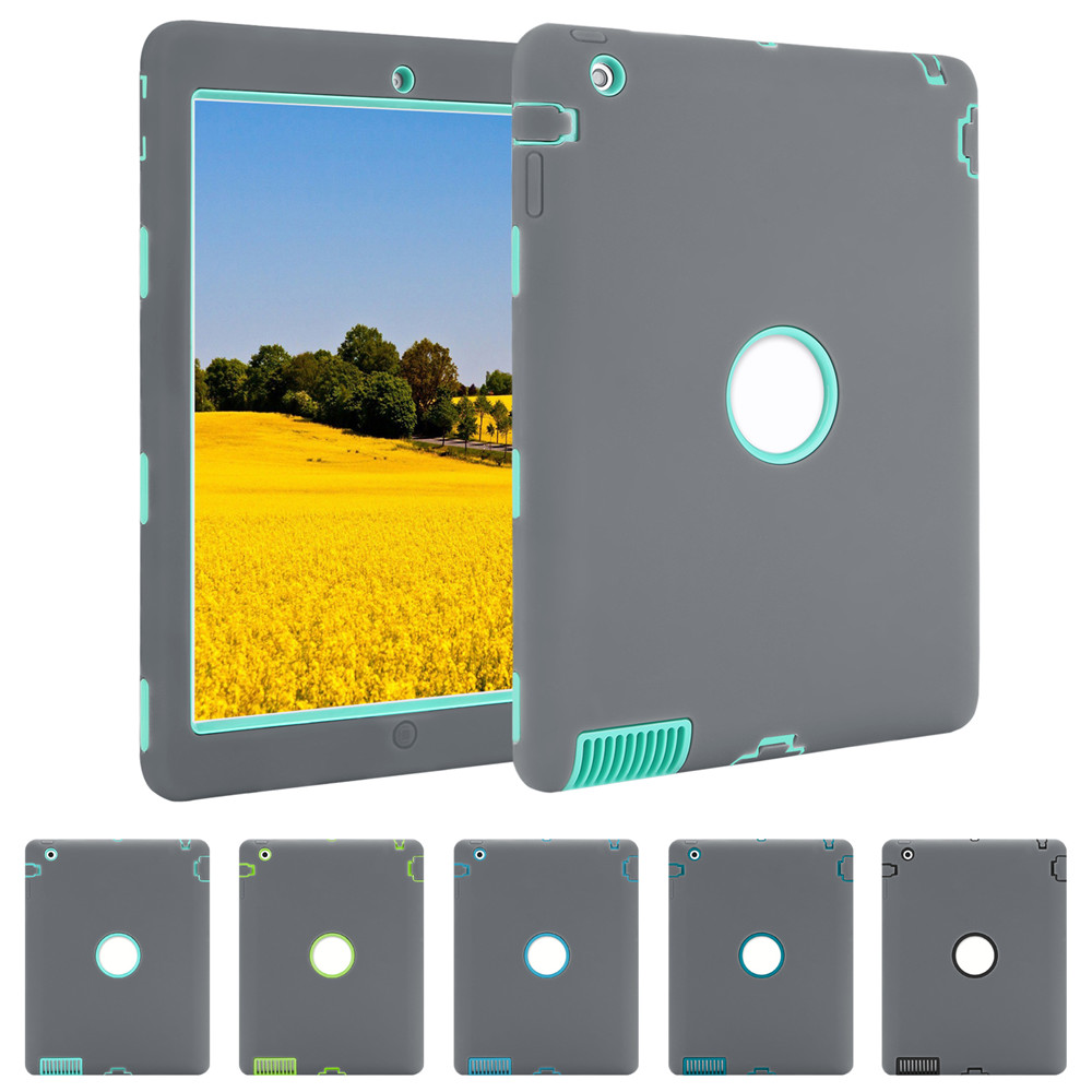 Shockproof Case for iPad 2 3 4,Heavy duty 360 Full Protect Stand Cover For apple ipad 2 3 4 Case Heavy Duty Hybrid Cover