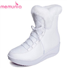 MEMUNIA Loe price Russia fur warm snow boots lace up platform solid white black woman wedges shoes women ankle boots