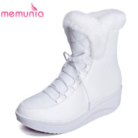 MEMUNIA Loe Price Russia Fur Warm Snow Boots Lace Up Platform Solid White Black Woman Wedges