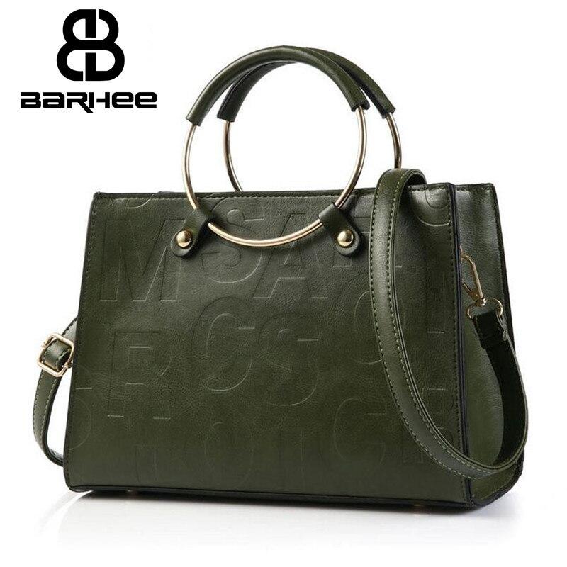 BARHEE Women Metal Circle Handle Handbag Tote Fashion Crossbody Bags Letter Ladies PU Leather Single Shoulder Bag  New Sac Femme