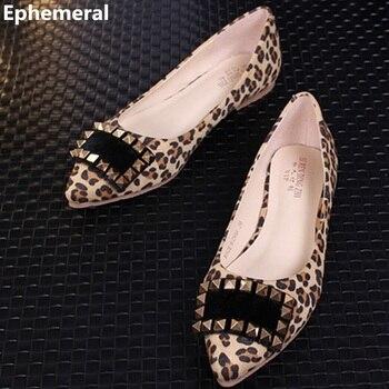 2a716af6ced4 Femmes léopard imprimé appartements Rivets chaussures—Livraison  gratuite