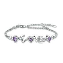 Heart Shaped Chain Thin Bracelet Love Crystal Zircon Rhinestone Bracelets  Silver Purple White Stone Anklet Anklets For Women 43bf393a443f