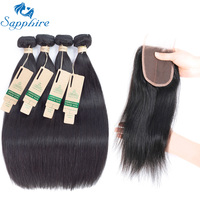Sapphire Straight Human Hair Brazilian Straight Hair 4 Bundles With Lace Closure 10 26inches Brazilian Human