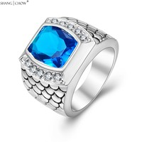 2017 New Vintage Charm Jewelry With Huge Blue Crystal Stone 925 Sterling Silver Ring For Male