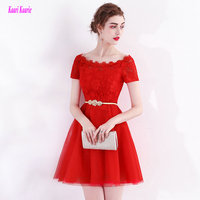 Junoesque Red Homecomi Dresses 2017 New Sexy Formal Homecoming Dress Scop Tulle Appliques Beading Casual Party