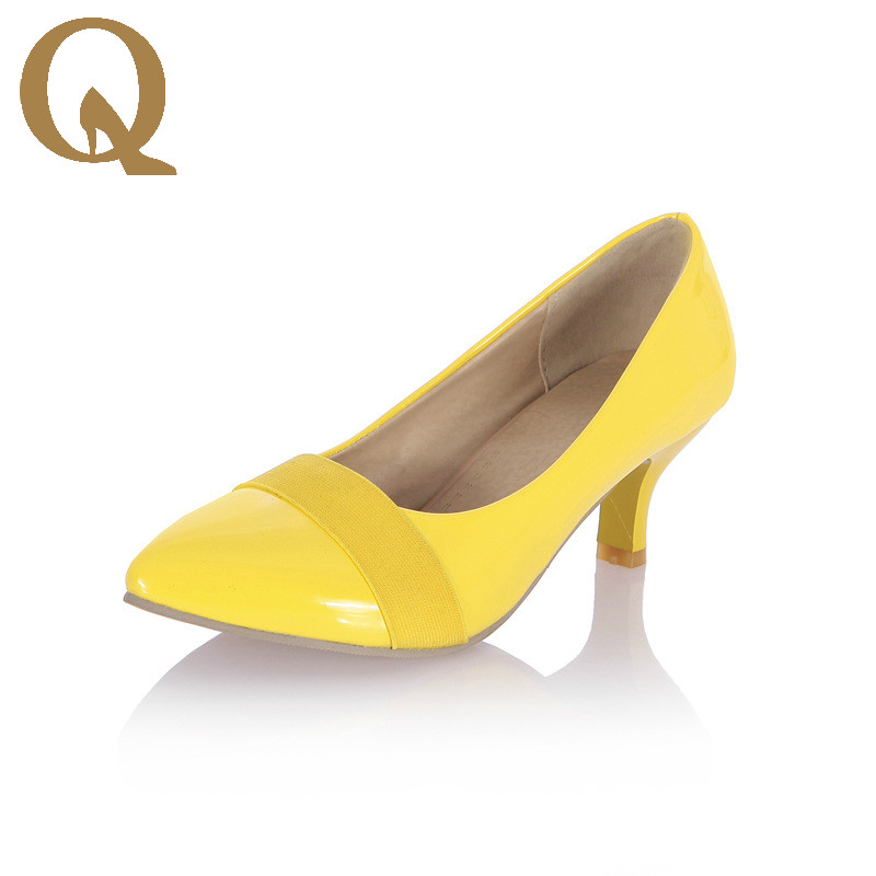 Quality Patent Leather Shoes Woman High Heels Pumps Yellow