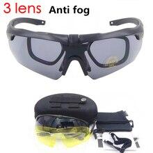 купить Anti-fog 3 Lens Cycling glasses military goggles  Ballistic Military Sport Men Sunglasses Army Bullet-proof Eyewear shooting CS по цене 1039.49 рублей