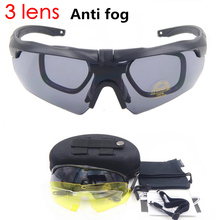 Anti fog 3 Lens  glasses military goggles  Ballistic Military Sport Men Sunglasses Army Bullet proof Eyewear shooting CS