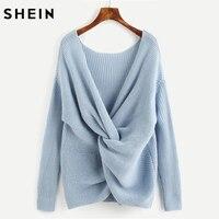 SHEIN Drop Shoulder Twist Back Jumper Casual Long Sleeve Jumper Autumn Blue Scoop Neck Loose Pullovers