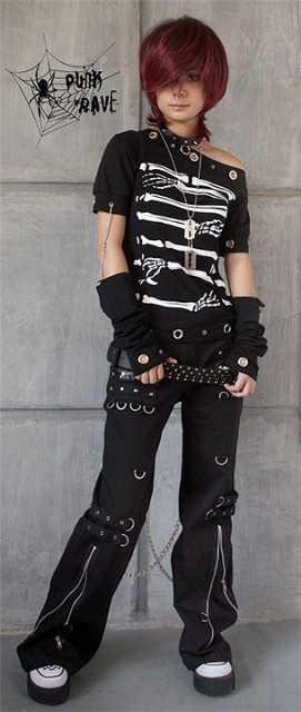 PUNK RAVE Punk style short sleeve T-shirt with special design at sleeve part and neck part T-178