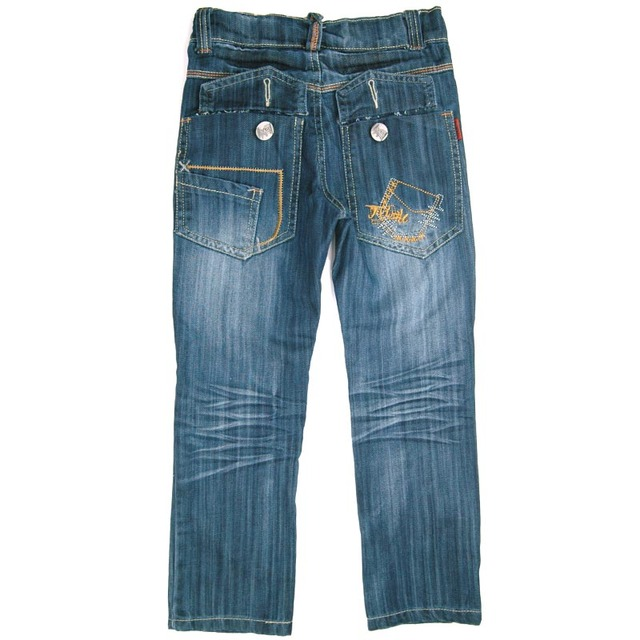 9-11Y Boys Embroidery Blue Jeans big Copper Button Zipper Fly,Loosen Crumple Denim simple style MH9219