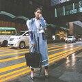 Корейский стиль 2016 женщин осень зима мода меха с капюшоном однобортный лонг повседневная кисточкой хлопок мягкий denim жан пальто