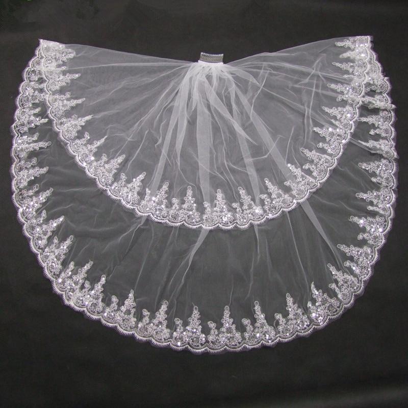 Two Layer Shining Lace Edge White Ivory Short Veil Bridal Veil