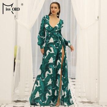 Missord, verano 2020, vestido playero largo de dos partes con escote pronunciado, estampado Kafftan, vestido playero de manga larga con volantes, FT9106-1