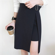 d33040eb8c42 AUFYSO Skirts Womens 2018 Autumn Korean Style Office Lady Elegant Side Split  Asymmetrical Slim High Waist