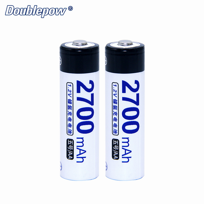 2pcs/Lot Doublepow DP-AA2700mA 1.2V Ni-MHRechargeable Battery in FULL High Capacity of 10% International Tolerance Battery Cell