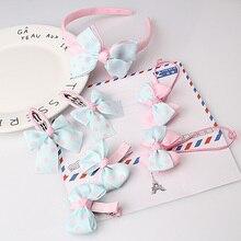 M MISM 1set=7pcs Headwear Set Children Accessories Printing Dot Bow Headband Hair clip Gum for Hair Hairband for Girls Headdress