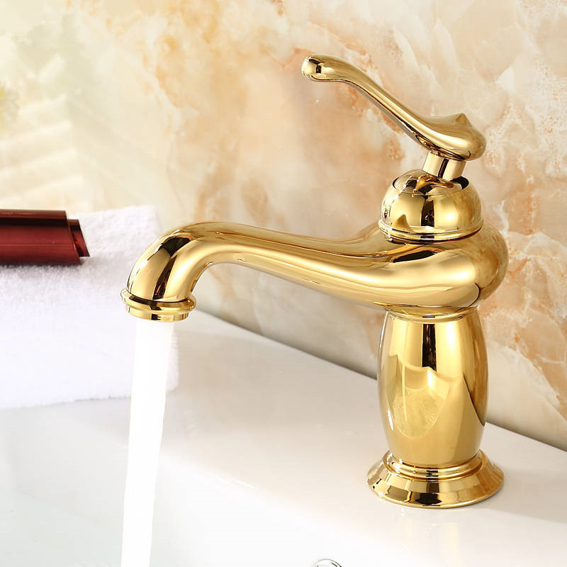 ФОТО Free shipping new product brass gold bathroom basin faucet with single hanlde gold kitchen faucet and hot cold bathroom faucet