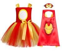Gold Red Iron Man Costume Children Super Heros Pattern Toddler Girl Christmas Dress Super Hero Costume Kids Halloween Tutu Dress