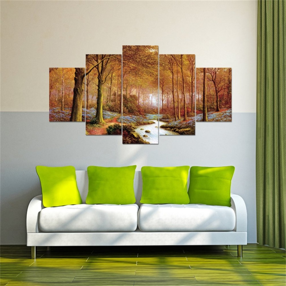 Beautiful Autumn Forest Landscape Wall Art Canvas For Living Room 5 Pieces Decorative Painting for Home Best Gift