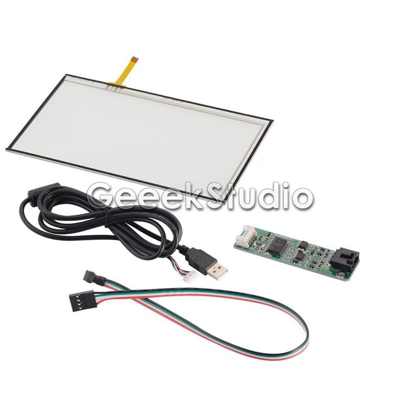 7 Pouce Fils Rsistif LCD Cran Tactile Panneau Capteur En Verre Kit Pour AT070TN92 Avec USB Port Contrleur Pilote Conseil Et Cble