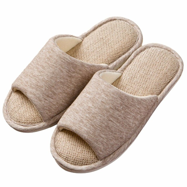 990b09ecb063d2 Mens Linen Knit Open Toe Slippers Floppy Cotton Cushioned Slide Sandals  Slip On Indoor House Spa Shoes