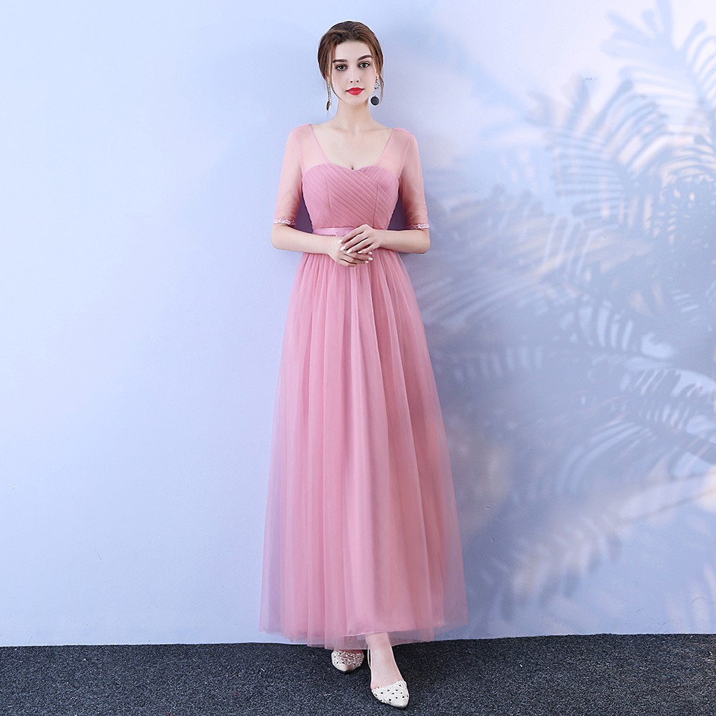 Red Bean Pink Colour New Fashion Long Dress Women Dress For Wedding Party Bridesmaid Dress