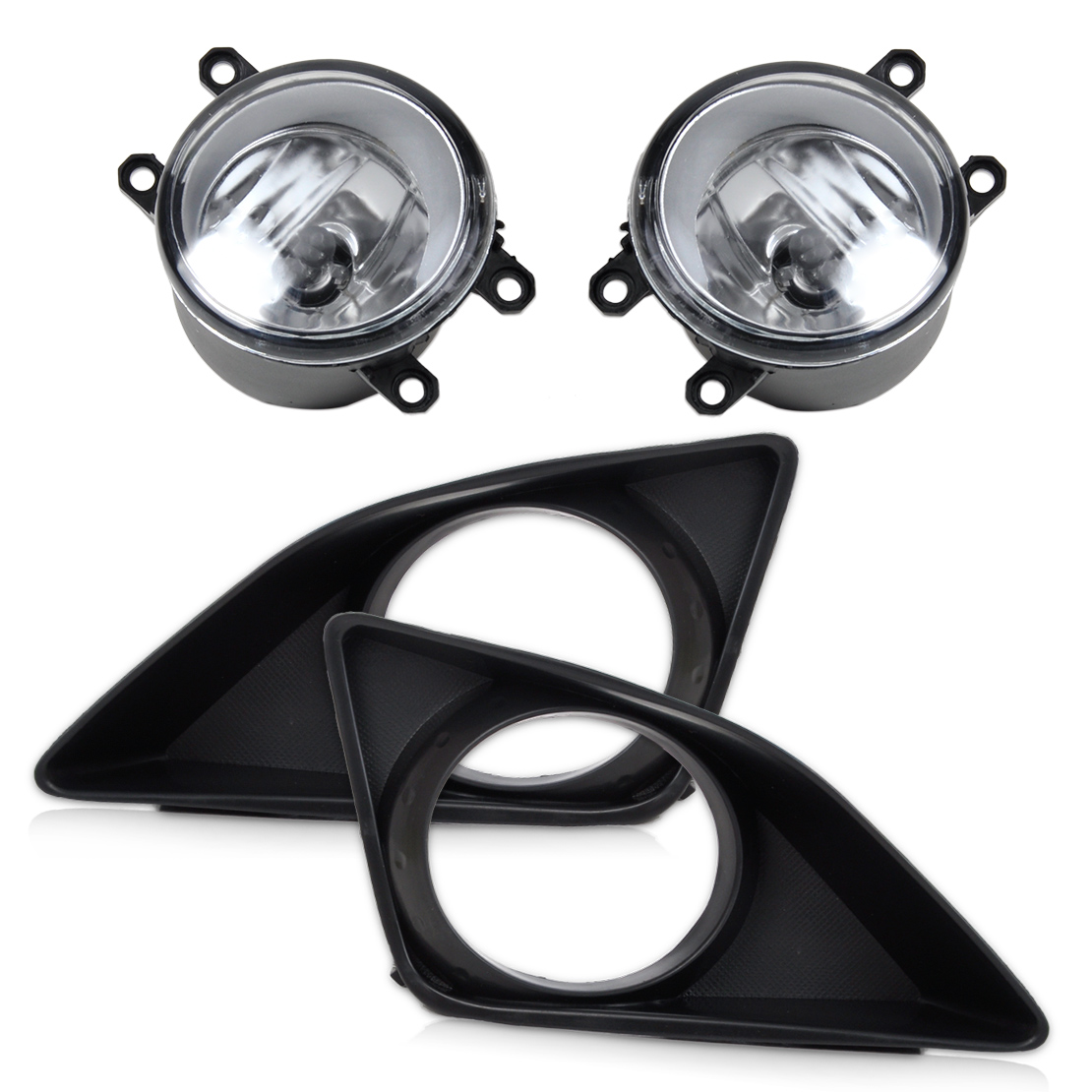 beler 4Pcs Front Right Left Fog Light Lamp + Grille Cover Bezel for Toyota Corolla 2007 2008 2009 2010 1set front chrome housing clear lens driving bumper fog light lamp grille cover switch line kit for 2007 2009 toyota camry