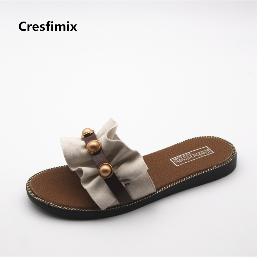 Cresfimix women fashion spring & summer flat slip on slippers lady cute indoor & outside slides female cool comfortable slippers cresfimix women cute spring