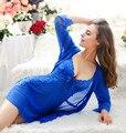 Sexy V neck Lace Camisola Define Mulheres Rendas Noite GownBathrobe Verão Conjuntos de Roupa de Dormir Sleepwear Rendas Camisola Robe