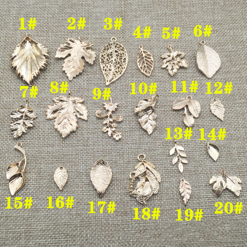 5pcs High quality DIY Leaf Golden Alloy pendant Leaves Charms Alloy Plated Charm Metal Bracelet Charm Bride Jewelry accessories