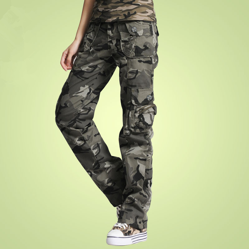 2019 Autumn Military Camouflage Women Pants Casual Multi Pocket Capris Pants Loose Cotton Cargo Trousers For Female