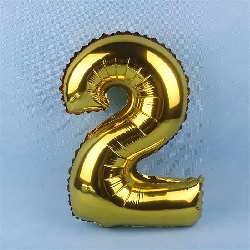16 cal złoty srebrna cyfra z balonów foliowych nadmuchiwane cyfrowy manometr piłka dekoracje ślubne wszystkiego impreza urodzinowa zapasy balonów na przyjęcia