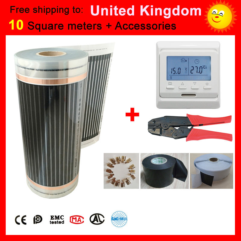 Free shipping to United Kingdom,10 Square meter CE certified under-floor Heating film, far infrared heating film good to health united kingdom free shipping 50 square meter infrared heating film with accessories under floor heating film 50cmx100m