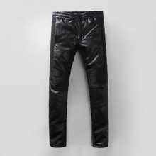 Free shipping Men's Italy Fashion Runway PU leather Slim Biker Pant Jeans Size28-38