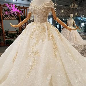 Image 2 - AIJINGYU voile de mariage musulman Simple dentelle blanche et Tulle grande taille avec Royal médiéval jolies robes de mariée avec manches