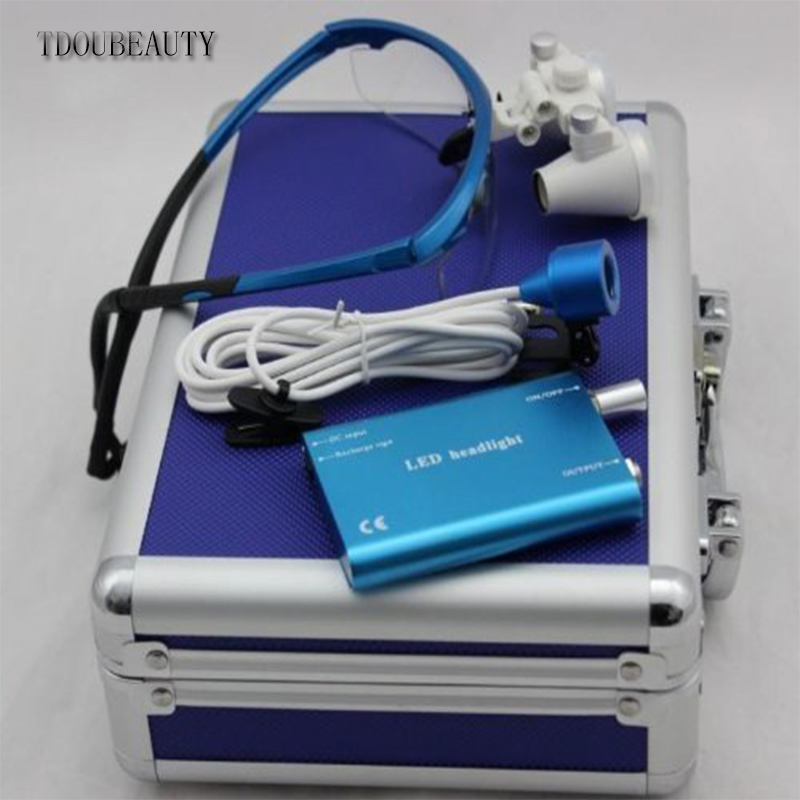 TDOUBEAUTY Portable Dental Binocular Loupes 2.5X 420mm + LED Head Light Lamp +Aluminum Box (Blue) Free ShippingTDOUBEAUTY Portable Dental Binocular Loupes 2.5X 420mm + LED Head Light Lamp +Aluminum Box (Blue) Free Shipping