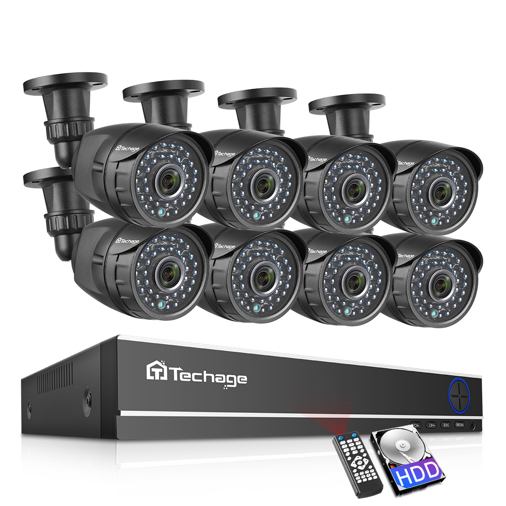 Techage 8CH 1080P HDMI AHD DVR Kit CCTV Security System 2MP HD IR Night Vision Outdoor