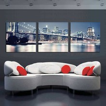 3 Pieces City Night Art Pictures Landscape New York Oil Painting On Canvas Prints Modern Home Decor Paintings NO FRAME Unframed canvas painting modular wall art frame home decor 5 pieces new york city night scene pictures hd print brooklyn bridge poster