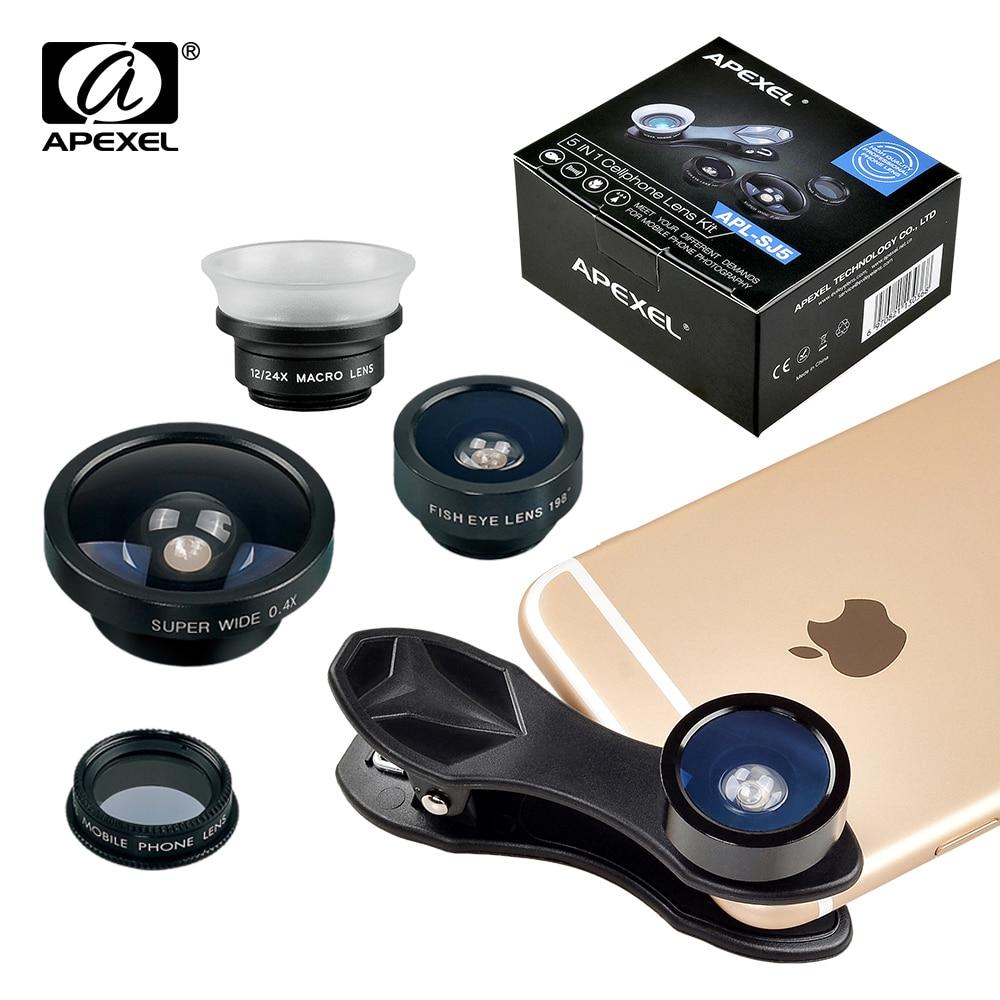 imágenes para APEXEL teléfono lente Ojo de Pez + Gran Angular + Macro + filtro CPL Lente de la cámara para el iphone 7/7 plus/6 S Plus Android IOS Teléfonos Inteligentes 5en1 SJ5