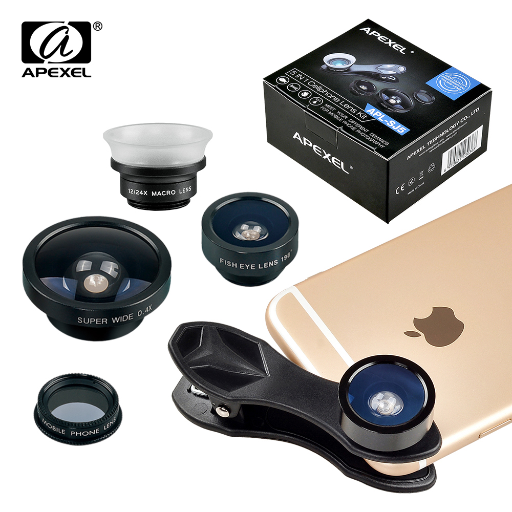 Цена за Apexel телефона объектива Рыбий глаз + широкий угол + макро + CPL фильтр объектива камеры для iPhone 7/ plus/6 S Plus Android IOS смартфонов 5in1 SJ5