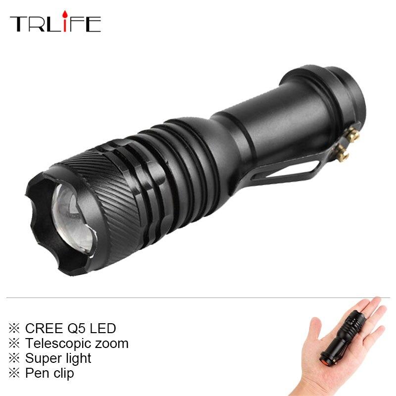 Super Light 3000LM CREE XM-Q5 3-mode Zoom LED Flashlight Torch Lantern Portable Waterproof Flash Light for AA/14500 Battery skilhunt ds15 cree xm l2 led edc waterproof flashlight torch 5 modes 240lm 1 x 14500 or aa battery