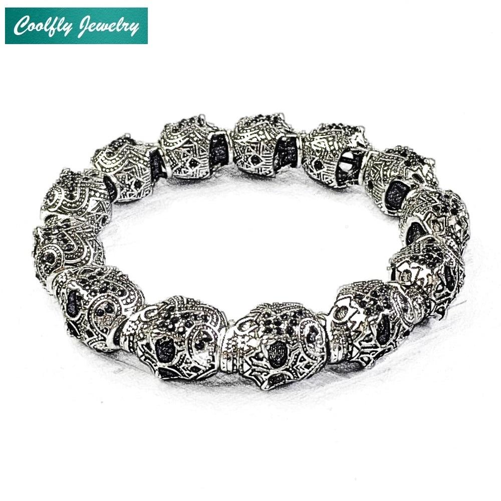Vintage Black Zirconia Pave Skulls King Beads Rope Bracelets Men Rebel Punk Fashion Jewelry Karma Bracelets Heart Gift Bijoux