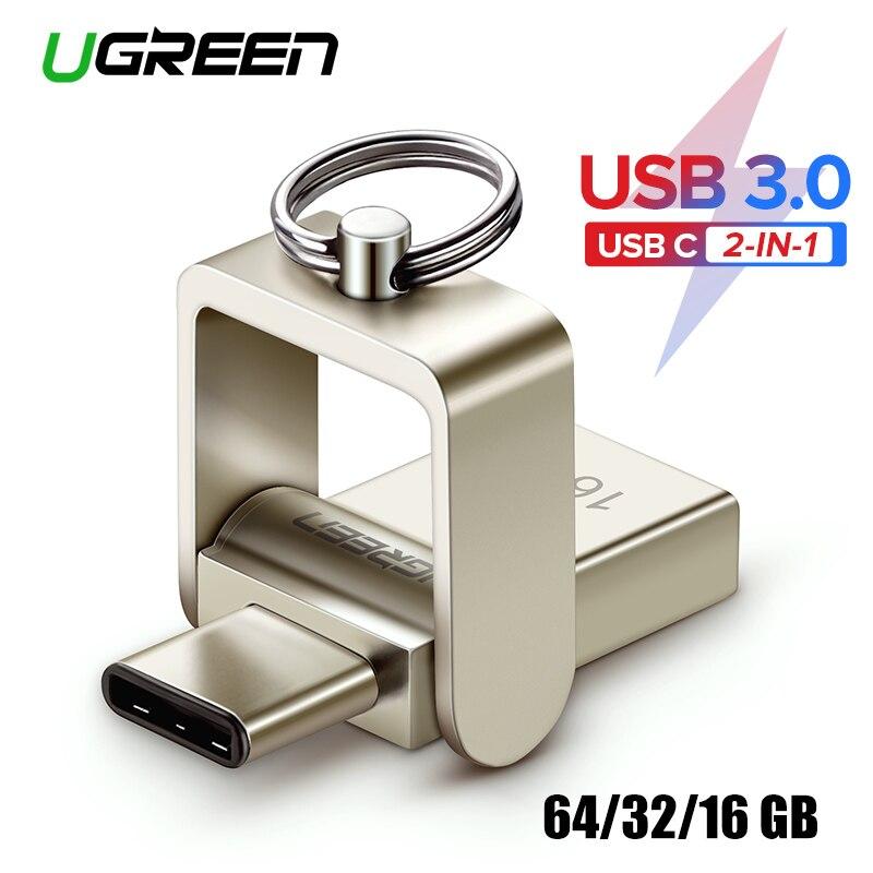 Pendrive OTG Ugreen USB Flash Drive USB 3.0 C 64 32GB Para Samsung Galaxy S9 Plus Nota 9 Para xiaomi Redmi5 Memory Stick Pen Drive