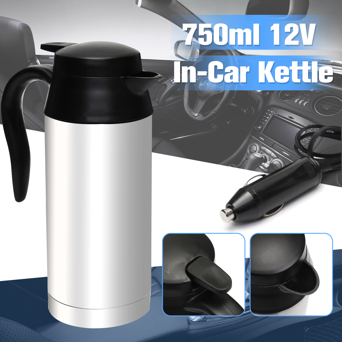 Stainless Steel 12V Electric Kettle 750ml In-Car Travel Trip Coffee Tea Heated Mug Motor Hot Water For Car Or Truck Use