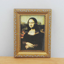Mona Lisa Painting Picture Golden Frame Art For Barbie Blythe Dollhouse Miniature 1:12 Furniture