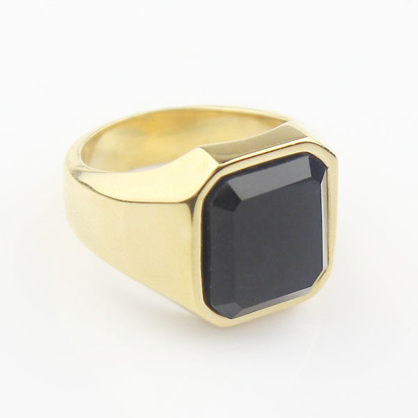 Simple Men s Black Square Agate Gem Stone Gold Tone 316L Stainless